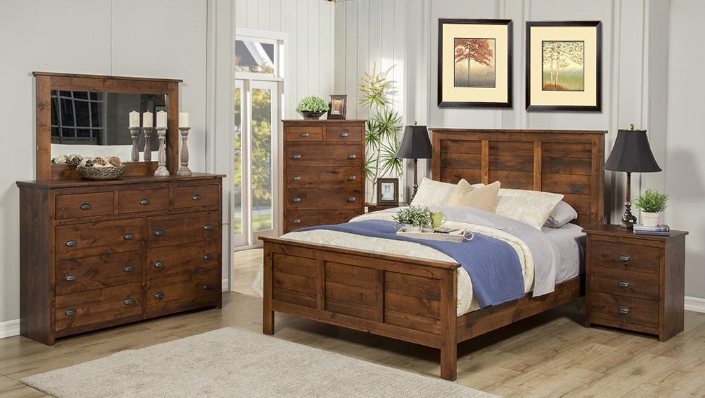 american made - real wood rustic alder 5 piece bedroom set
