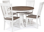 Beach House Light Round Pedestal Table With 4 Slat Back