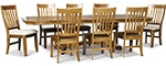 Classic Thresher Clipped Corner Solid Oak Table with 6 Cushion Chairs