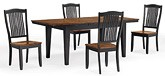 Beaver Creek Leg  Table And 4 Slat Back Chairs in Rustic Ebony