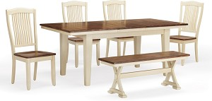 Beaver Creek Leg Table And 4 Slat Back Chairs in Rustic Buttermilk