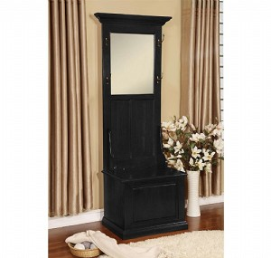 Hall Tree With Storage Bench Black