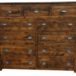 American Made - Real Wood                  Rustic Alder Eleven Drawer HighBoy