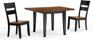 Beaver Creek Drop Leaf Table And 2 Ladder Back Chairs in Rustic Ebony