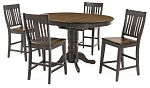 Beach House Counter High  Table And 4 Slat Back Stools