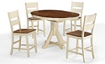 Beaver Creek Pedestal Table And 4 Ladder Back Chairs Rustic Buttermilk
