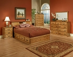 American Made  -  Real Wood            Traditional Oak 6 Piece Bedroom Set