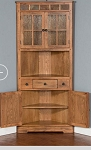 Rustic Oak Corner Hutch